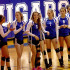 One crutch in front of the other: Junior Varsity volleyball player Ashleigh Teal steps forward when she is recognized before the game starts.