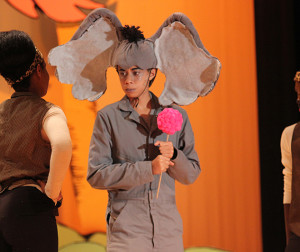 Horton hears a what?: Senior Brice Phillips performing on stage during a performance night of Seussical The Musical.