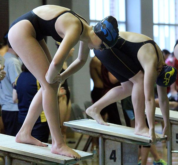 Freshman Sydney Coachman ready to swim the 100m breaststroke. She placed third overall in the event.