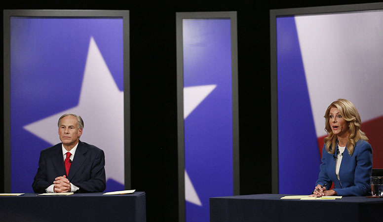 Texas State Sen. Wendy Davis, Democratic candidate, during the final gubernatorial debate in a KERA-TV studio in Dallas on Tuesday, Sept. 30, 2014. (Andy Jacobsohn/Dallas Morning News/MCT)