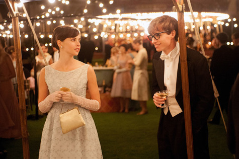 "Felicity Jones, left, stars as Jane Wilde and Eddie Redmayne stars as Stephen Hawking in Academy Award winner James Marsh's ""The Theory of Everything,"" a Focus Features release. (Liam Daniel/Focus Features/MCT)"