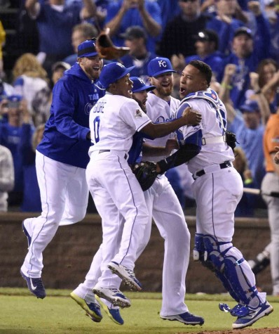 The Kansas City Royals celebrate after eliminating the Houston Astros with a 7-2 win in Game 5 of the ALDS on Wednesday, Oct. 14, 2015, at Kauffman Stadium in Kansas City, Mo. (Tammy Ljungblad/Kansas City Star/TNS)