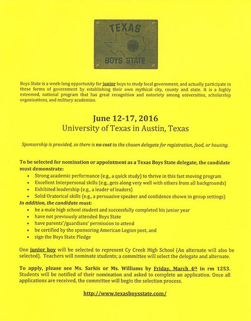 Applications for Boys and Girls State now available