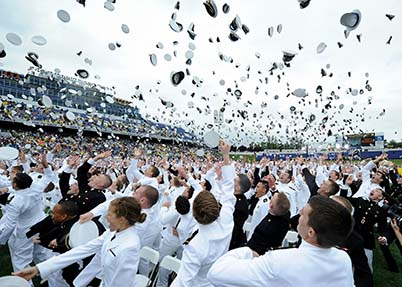 U.S. Naval Academy graduates throw their caps in the air during the class of 2013 graduation and commissioning ceremony May 24, 2013, in Annapolis, Md. (U.S. Navy photo by Chief Mass Communication Specialist Sam Shavers/Released)