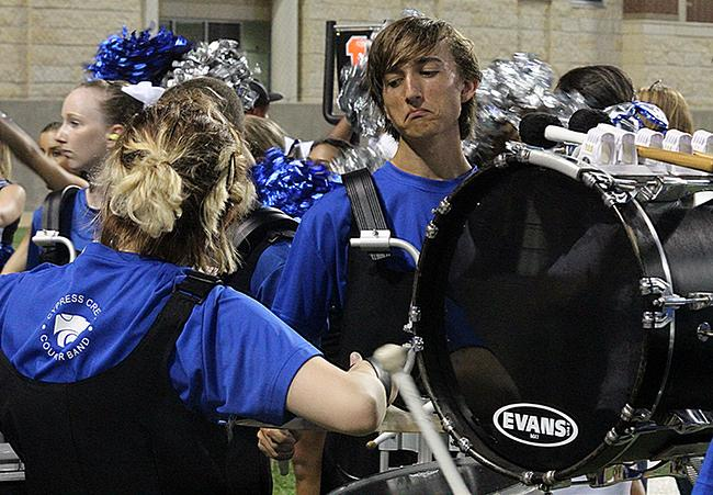 Band supports varsity players at the game