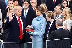 Donald Trump being inaugurated as the 45th president of the United States