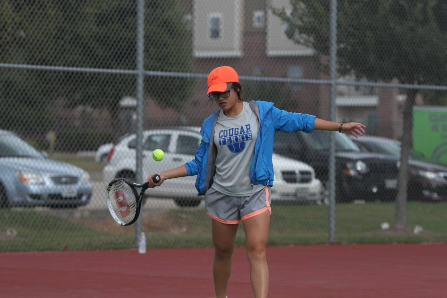 Players compete against Cy Falls Junior Varsity Tennis