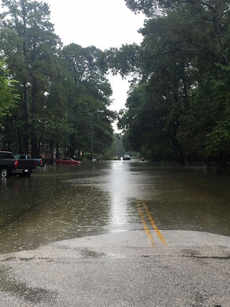Water levels rise on a neighborhood street in Windwood.